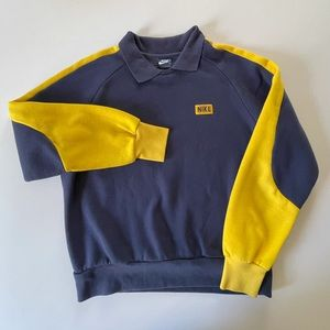 80s Nike Crewneck w/Collar Blue Tag Colorblock